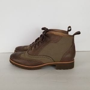 Sperry Kent Oxford Ankle Boot Olive/Brown Womens 8